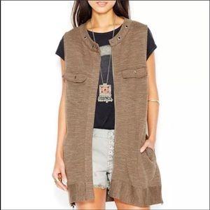 Free People Highway Slub Knit Olive Green Vest